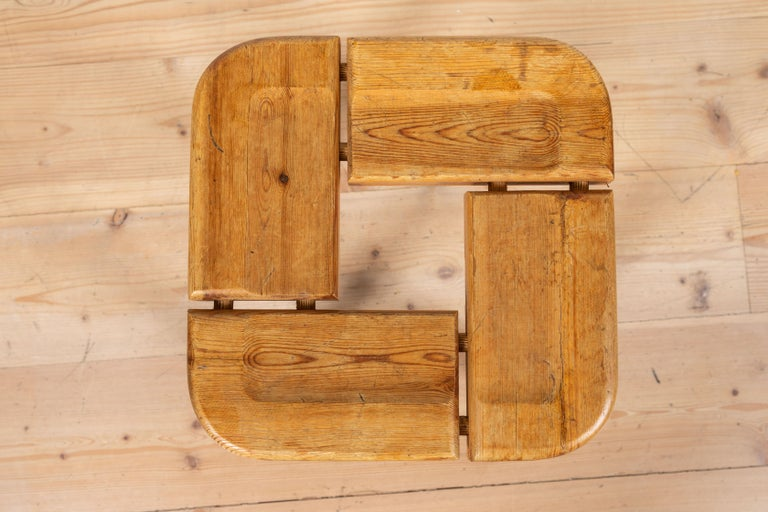 Mid-Century Modern Pair of Vintage Finnish Pine Stools For Sale