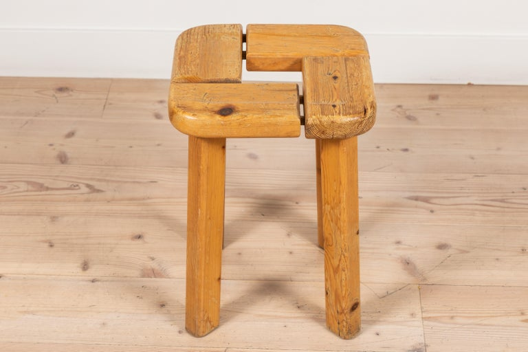 Pair of Vintage Finnish Pine Stools In Fair Condition For Sale In Los Angeles, CA