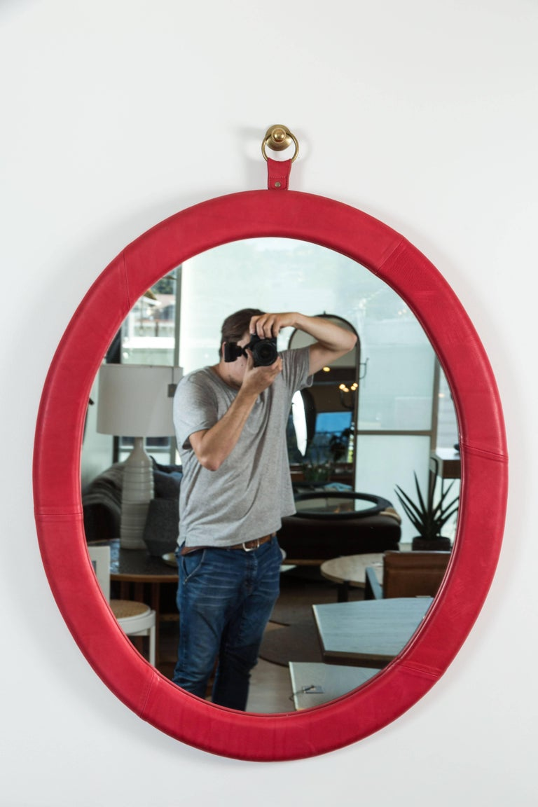 Mid-Century Modern Oval Leather Mirror by Jason Koharik for Collected by for Lawson-Fenning For Sale