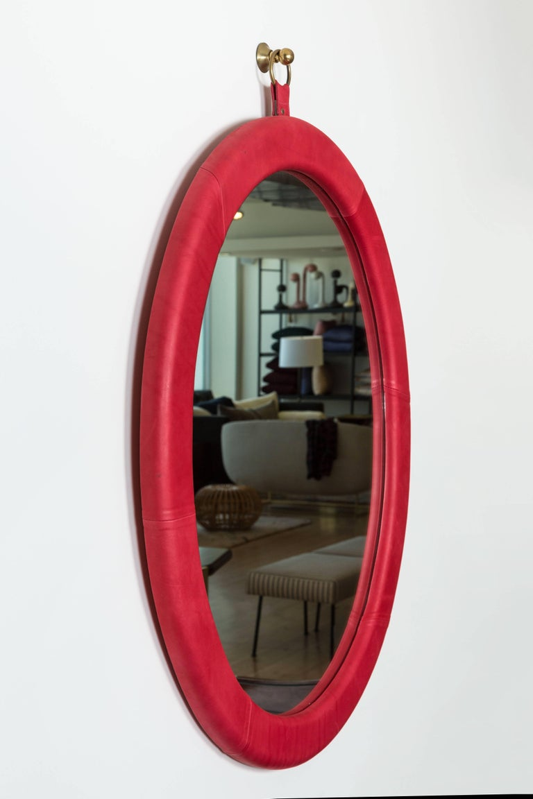 American Oval Leather Mirror by Jason Koharik for Collected by for Lawson-Fenning For Sale