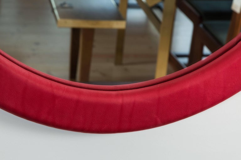 Contemporary Oval Leather Mirror by Jason Koharik for Collected by for Lawson-Fenning For Sale