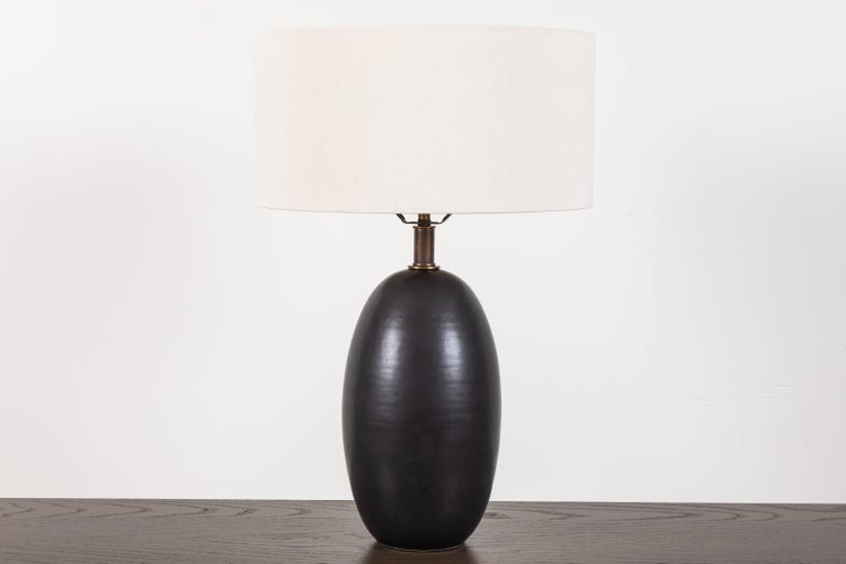 American Black Ceramic Table Lamp by Magnolia Ceramics for Lawson-Fenning For Sale