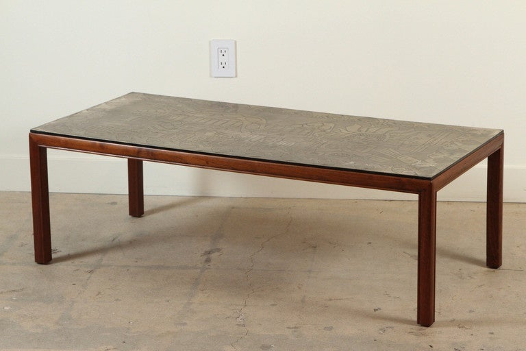 Italian Etched Brass Top Coffee Table Imported By John Stuart Nyc At 1stdibs