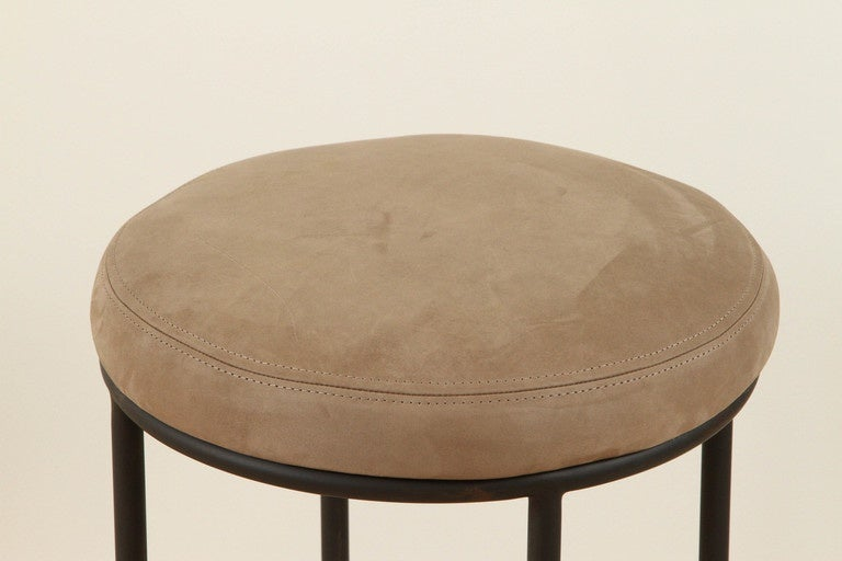 Mid-Century Modern Orsini Counterstool in Nubuck and Blackned Steel by Lawson-Fenning For Sale