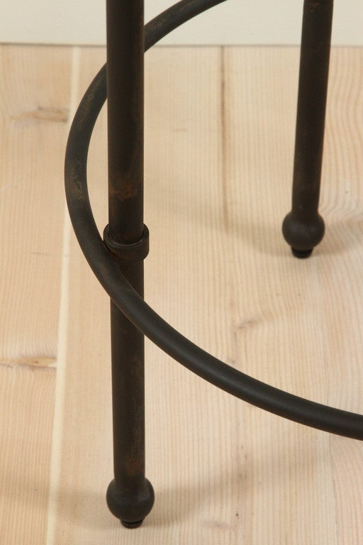 Orsini Counterstool in Nubuck and Blackned Steel by Lawson-Fenning In Excellent Condition For Sale In Los Angeles, CA