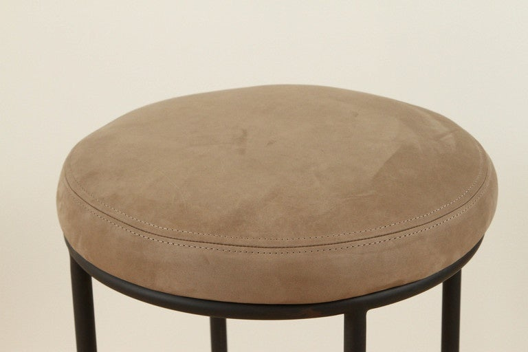 Contemporary Orsini Counterstool in Nubuck and Blackned Steel by Lawson-Fenning For Sale