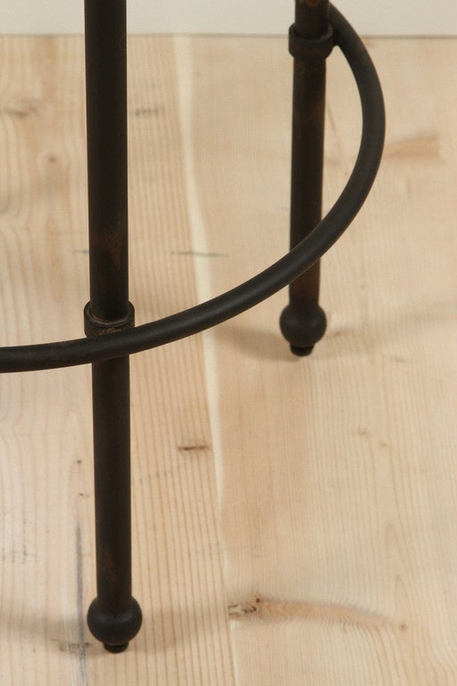 Leather Orsini Counterstool in Nubuck and Blackned Steel by Lawson-Fenning For Sale