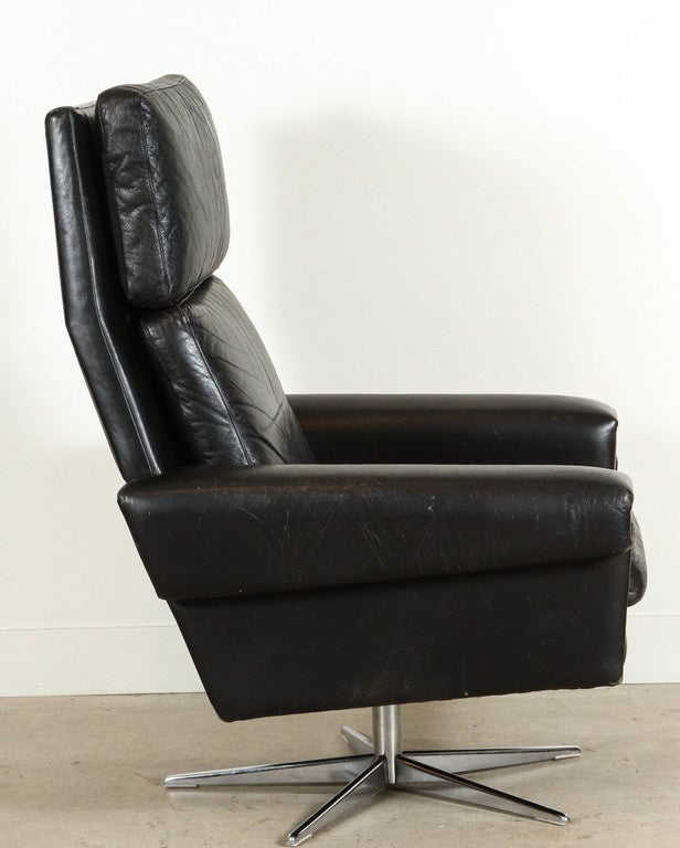 black leather danish high back swivel chair at 1stdibs