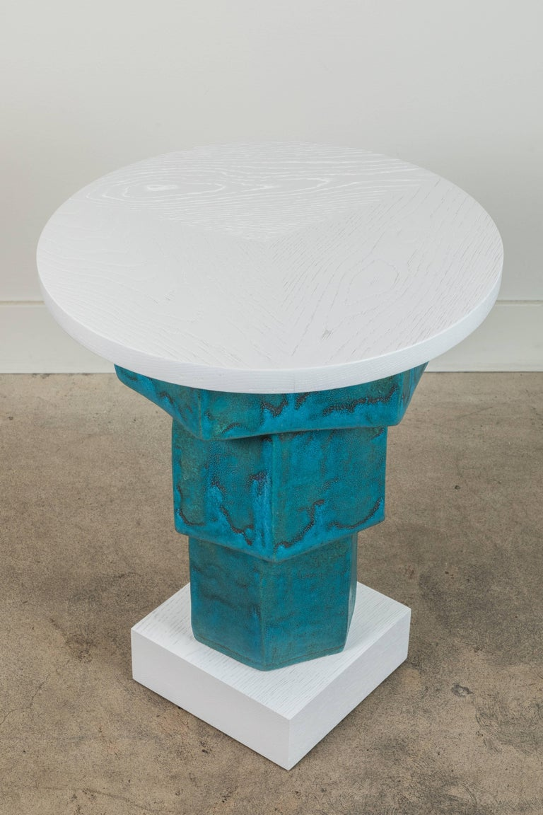 Mid-Century Modern Pair of Solid Oak and Ceramic Side Tables by Bzippy & Co. for Collabs in Clay For Sale