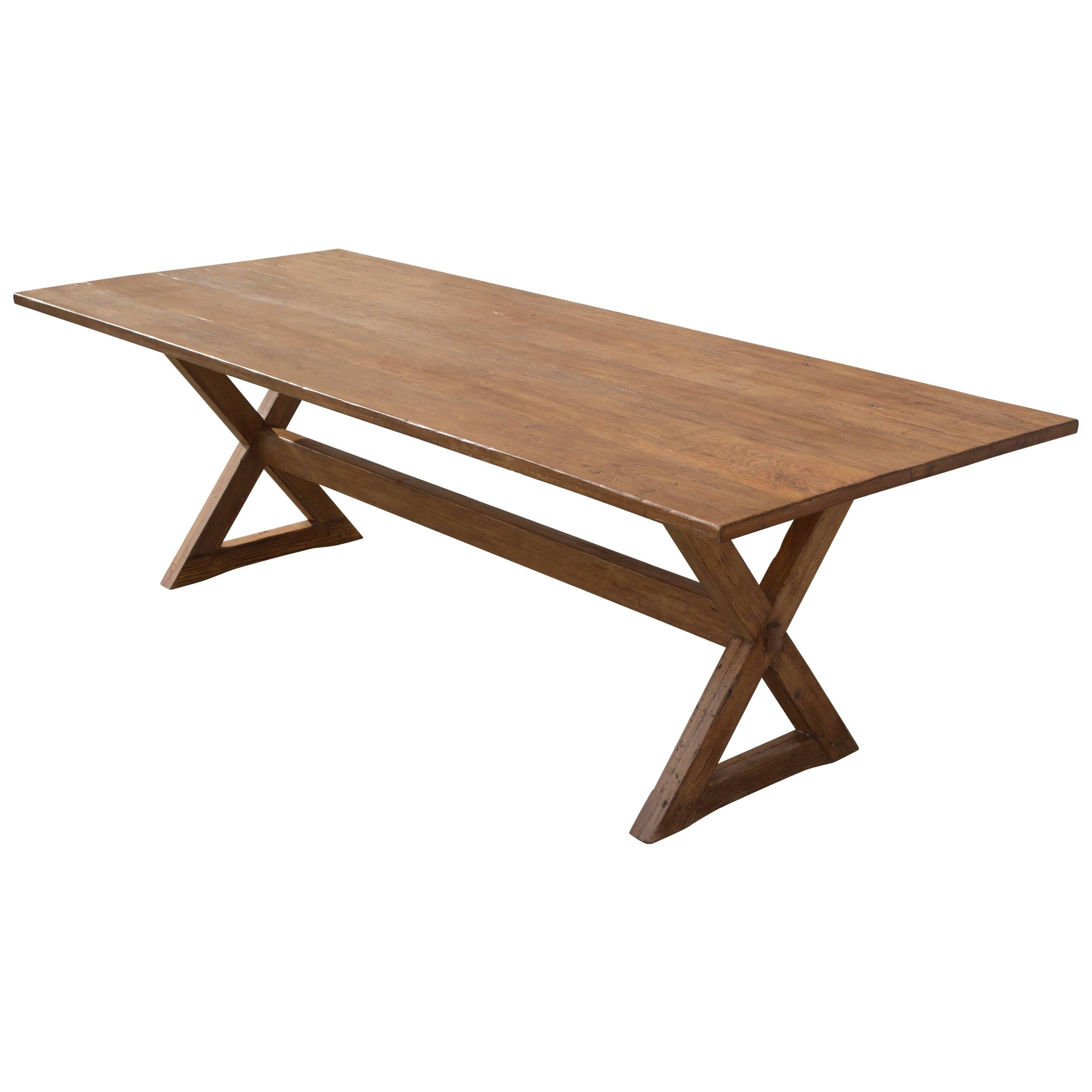 X-Trestle Table in Reclaimed Heart Pine, Custom-Made by Petersen Antiques