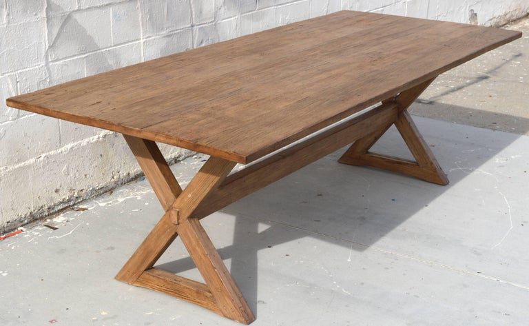 Country X-Trestle Table in Reclaimed Heart Pine, Custom-Made by Petersen Antiques For Sale