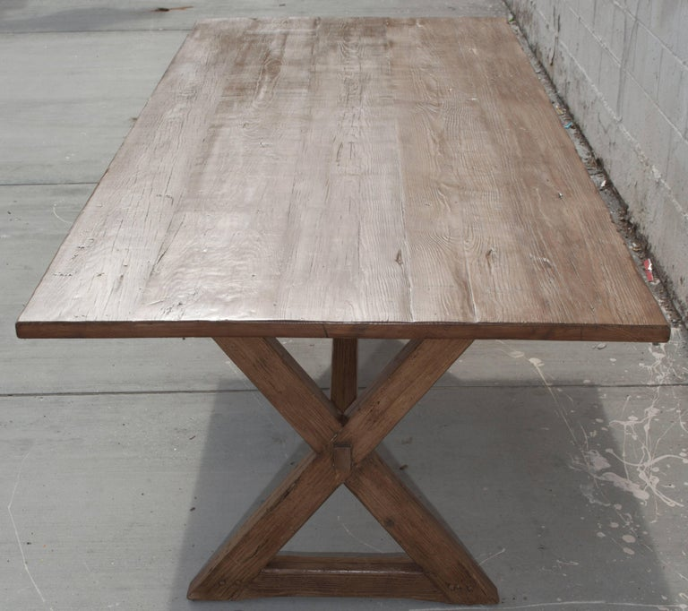American X-Trestle Table in Reclaimed Heart Pine, Custom-Made by Petersen Antiques For Sale