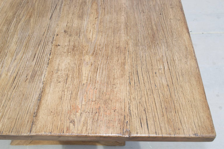 X-Trestle Table in Reclaimed Heart Pine, Custom-Made by Petersen Antiques In Excellent Condition For Sale In Los Angeles, CA