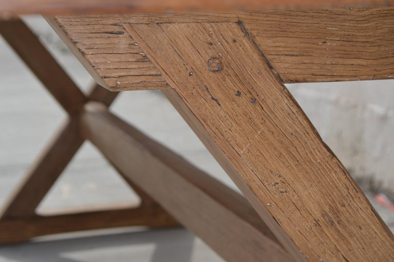 Contemporary X-Trestle Table in Reclaimed Heart Pine, Custom-Made by Petersen Antiques For Sale