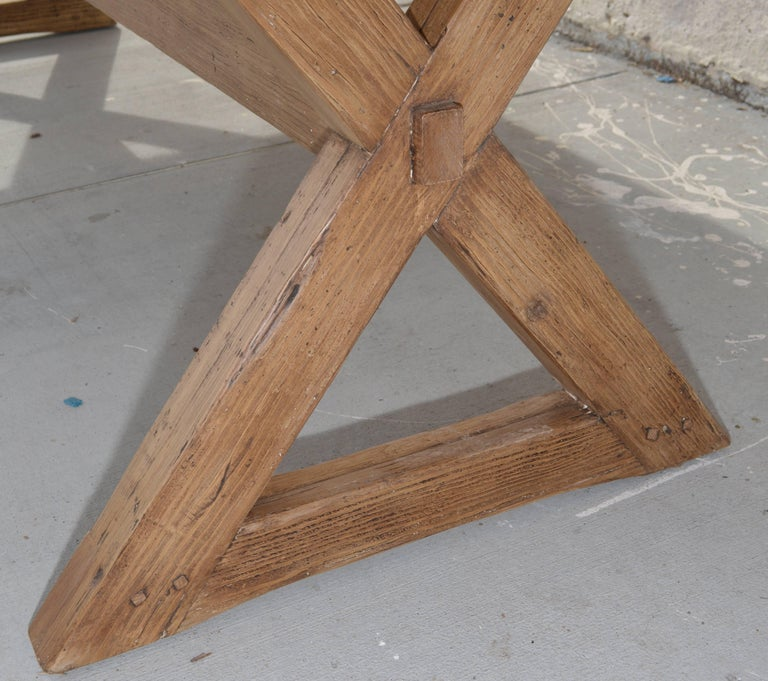 X-Trestle Table in Reclaimed Heart Pine, Custom-Made by Petersen Antiques For Sale 1