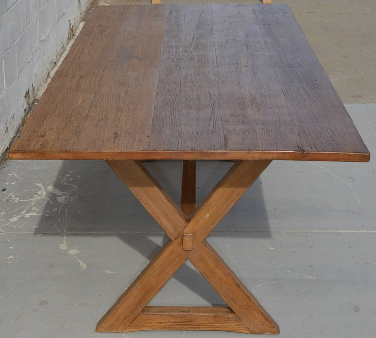 X-Trestle Table in Reclaimed Heart Pine, Custom-Made by Petersen Antiques For Sale 2
