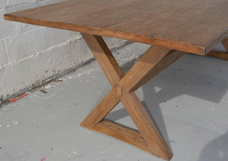 X-Trestle Table in Reclaimed Heart Pine, Custom-Made by Petersen Antiques For Sale 4