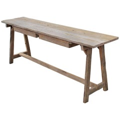 Made to Order Console Table or Work Table in Reclaimed Wood by Petersen Antiques