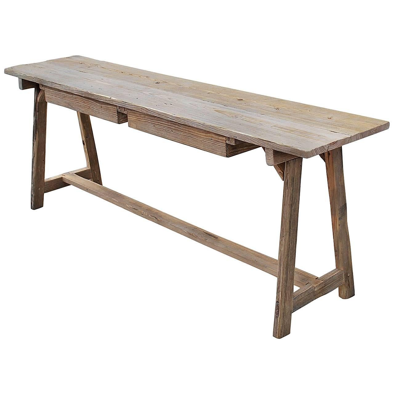 Made To Order Console Table Or Work Table In Reclaimed Wood By Petersen  Antiques For Sale