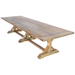 Custom Farm Table in Vintage White Oak, Built to Order by Petersen Antiques