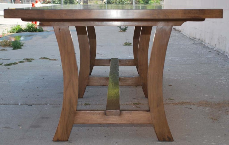 Dining Table Made from Vintage Black Walnut, Custom Made by Petersen Antiques In Distressed Condition For Sale In Los Angeles, CA