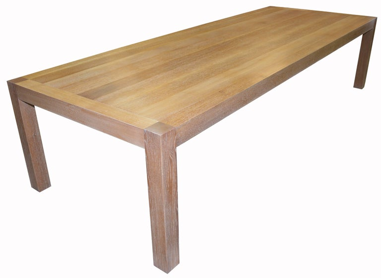 Minimalist Parsons Table with Classic Limed Oak Finish, Built to Order For Sale