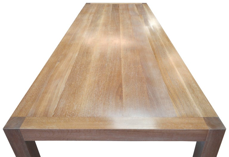 American Parsons Table with Classic Limed Oak Finish, Built to Order For Sale