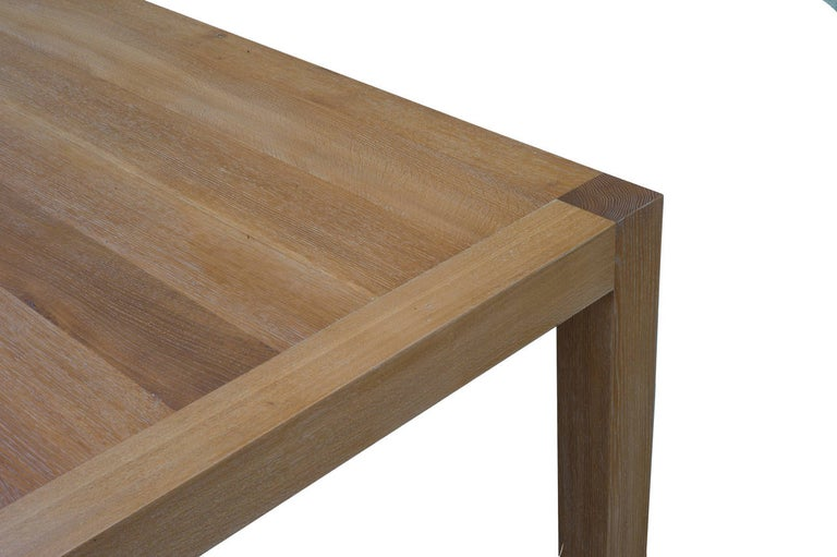 Parsons Table with Classic Limed Oak Finish, Built to Order In Excellent Condition For Sale In Los Angeles, CA