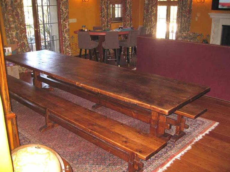 Trestle Table/Benches in Reclaimed Pine, Custom Made by Petersen Antiques For Sale 1