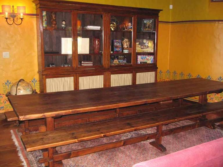Reclaimed Wood Trestle Table/Benches in Reclaimed Pine, Custom Made by Petersen Antiques For Sale