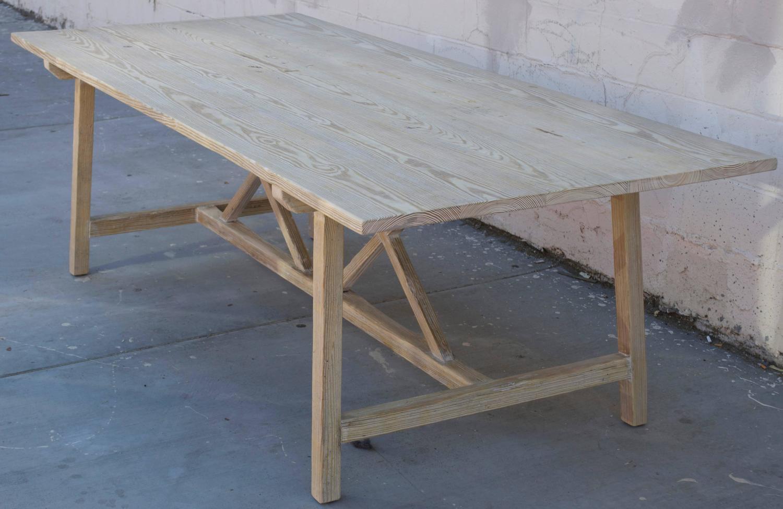 Vintage Pine Harvest Table XX Trestle Farm Table For