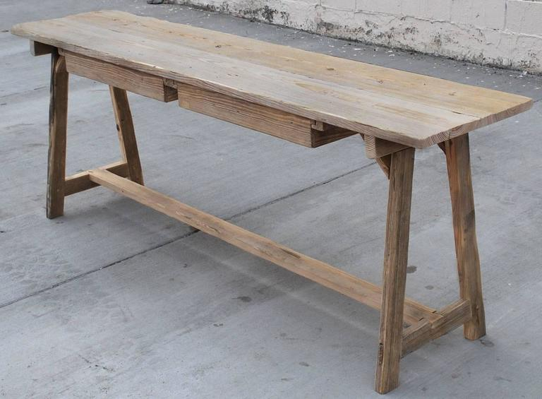 Work/Console Table in Vintage Fir, Custom Made by Petersen Antiques For Sale 2