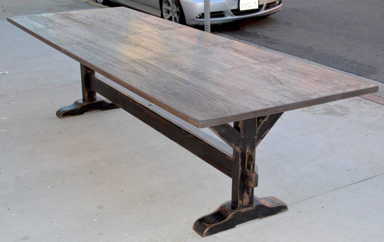 Trestle Table in Solid Walnut, Built to Order by Petersen Antiques For Sale 4