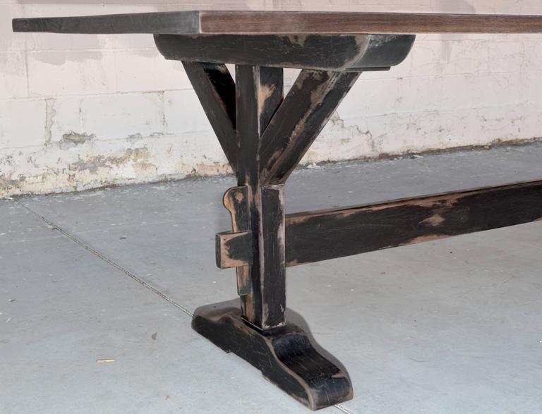 Trestle Table in Solid Walnut, Built to Order by Petersen Antiques In Excellent Condition For Sale In Los Angeles, CA