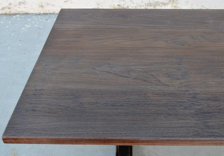 Contemporary Trestle Table in Solid Walnut, Built to Order by Petersen Antiques For Sale