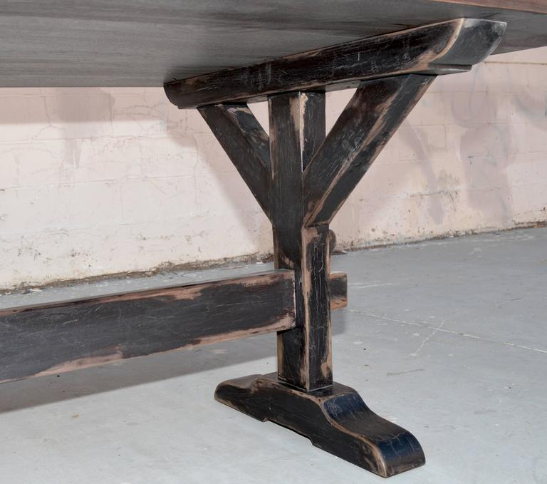Trestle Table in Solid Walnut, Built to Order by Petersen Antiques For Sale 1