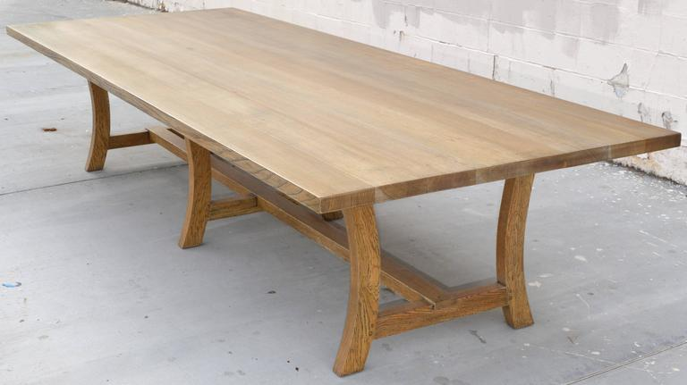American Craftsman Custom Dining Table In Rift Sawn White Oak For