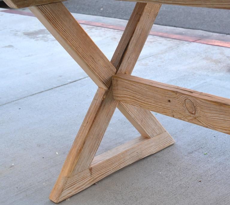 Contemporary Trestle Table built in Vintage Heart Pine, Custom Made by Petersen Antiques For Sale