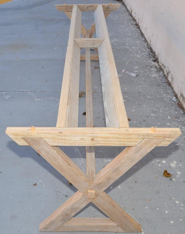 Trestle Table built in Vintage Heart Pine, Custom Made by Petersen Antiques For Sale 2