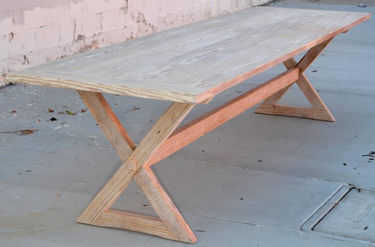 Trestle Table built in Vintage Heart Pine, Custom Made by Petersen Antiques For Sale 3