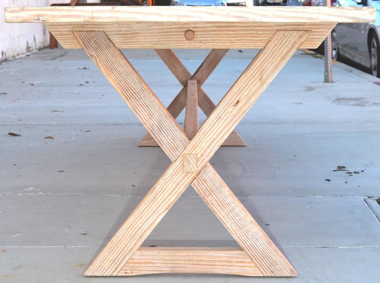 American Trestle Table built in Vintage Heart Pine, Custom Made by Petersen Antiques For Sale