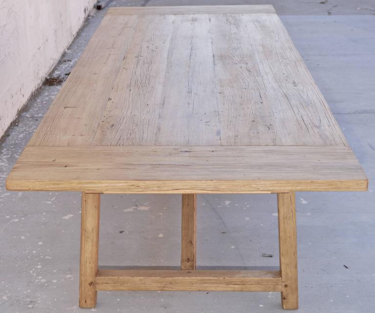 large farm table with extensions in vintage