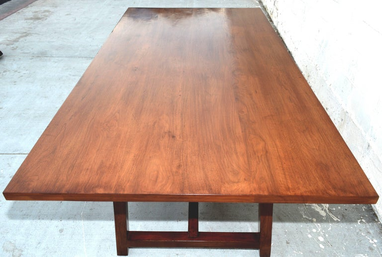 American Dining Table in Walnut with Extensions, Made to Order by Petersen Antiques For Sale