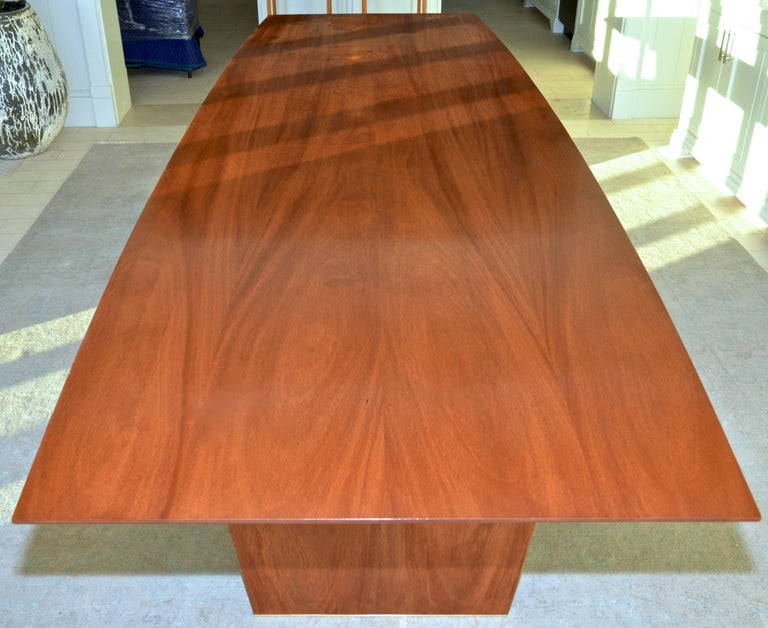 Mid-Century Modern Dining Table in Solid Bookmatched Mahogany, Custom Made by Petersen Antiques For Sale