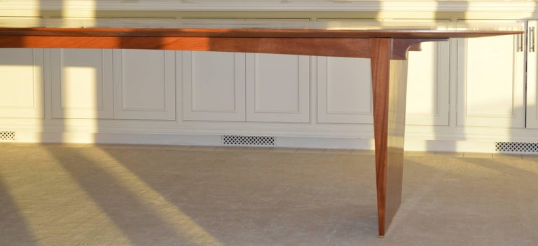 Contemporary Dining Table in Solid Bookmatched Mahogany, Custom Made by Petersen Antiques For Sale