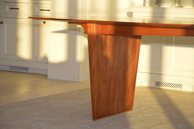 Dining Table in Solid Bookmatched Mahogany, Custom Made by Petersen Antiques For Sale 1