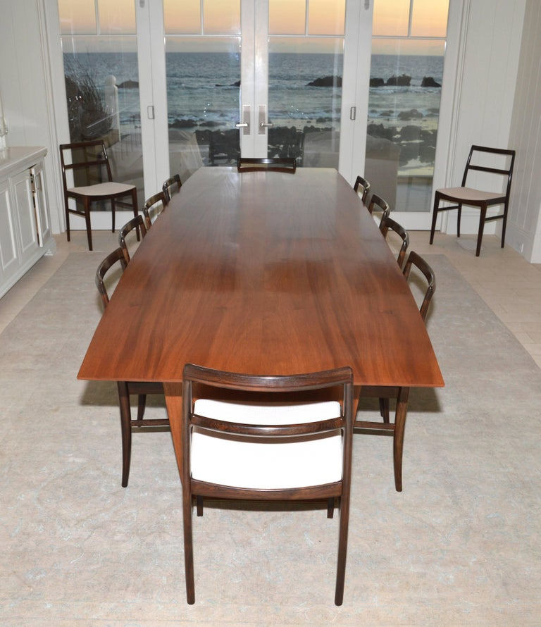 Dining Table in Solid Bookmatched Mahogany, Custom Made by Petersen Antiques For Sale 3