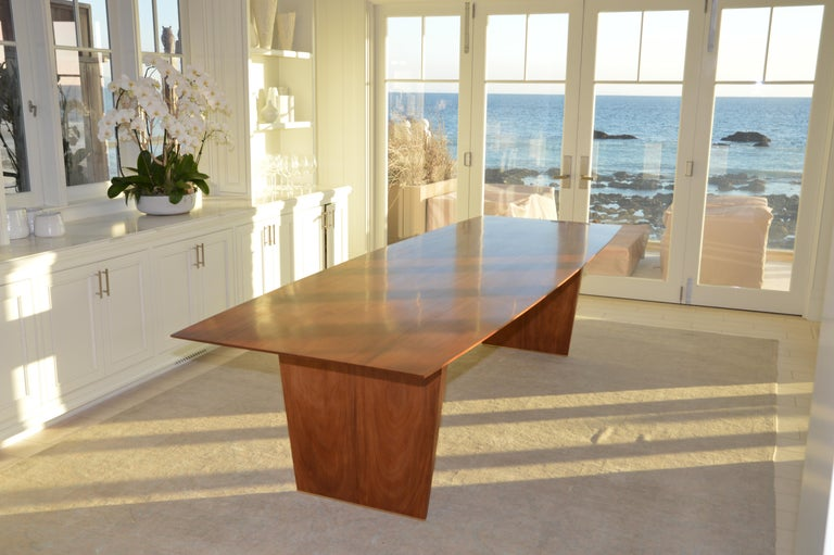 Dining Table in Solid Bookmatched Mahogany, Custom Made by Petersen Antiques For Sale 2