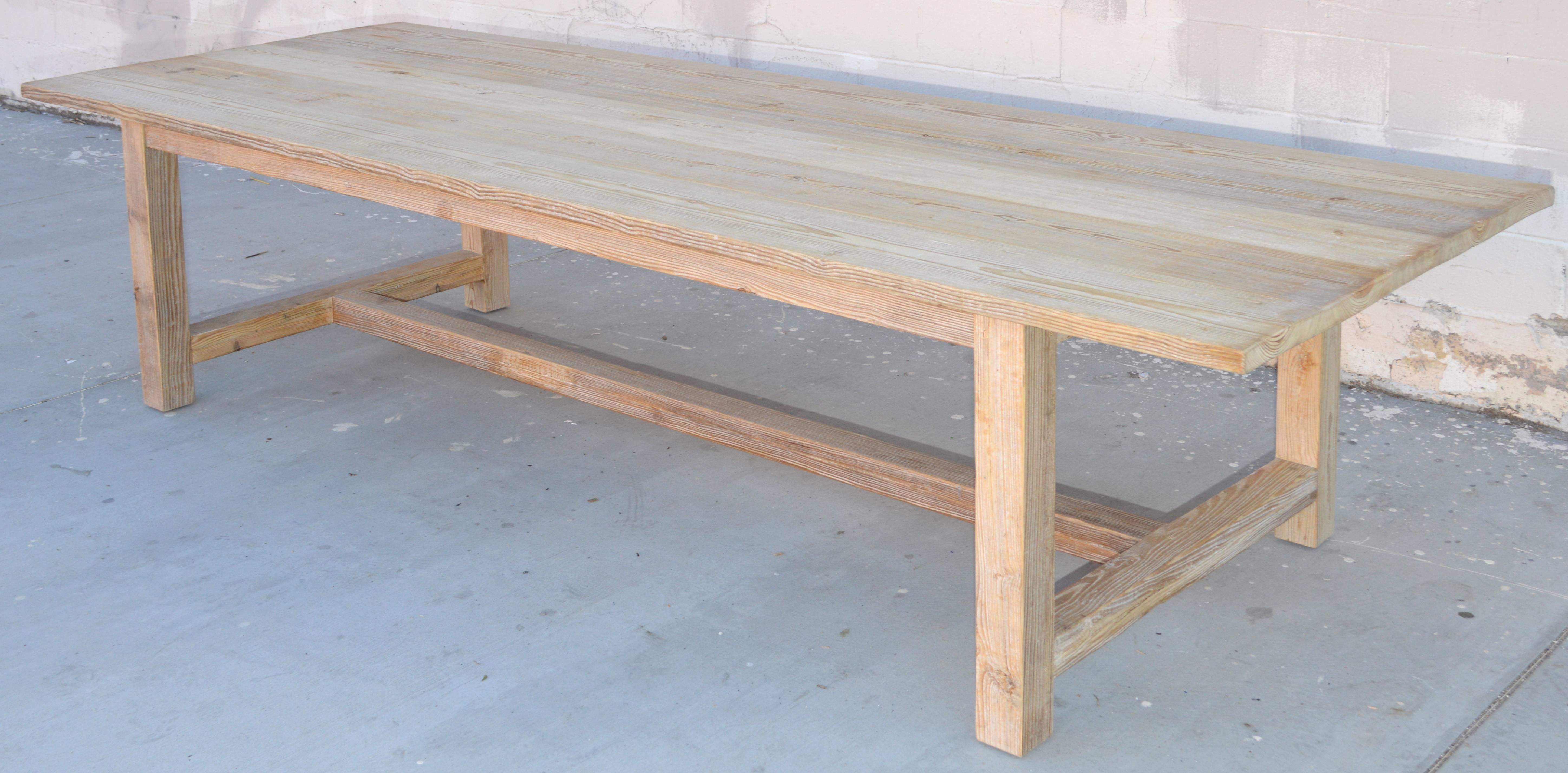 Rustic Farm Or Harvest Table Made From Vintage, Reclaimed Wood With Natural  Distress. The