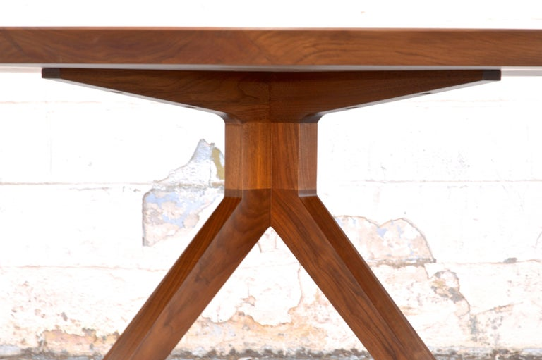 American 'Sputnik' Dining Table in Solid Walnut, Built to Order by Petersen Antiques For Sale